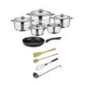 Topf-Pfannen-Set mit Küchenutensilien